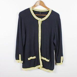 Talbots Cardigan Sweater Women's Size L Navy Blue